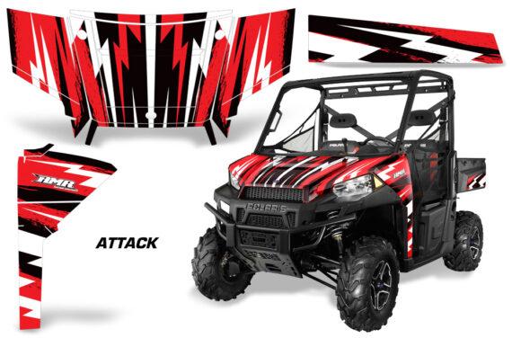Polaris Range 13 15 Graphic Kit Wrap Attack Red 570x376 - Polaris Ranger Diesel/Diesel HST/Crew Diesel/Crew 900/900XP 2013-2019 UTV Graphics