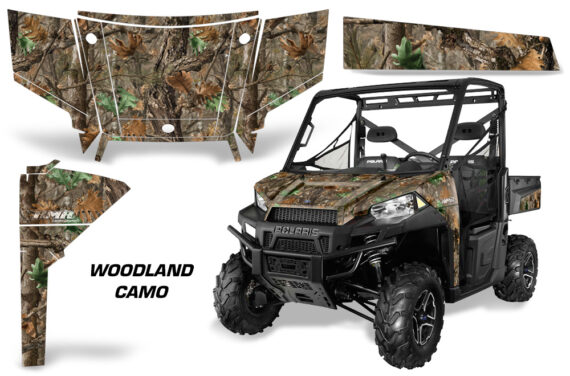 Polaris Range 13 15 Graphic Kit Wrap Woodland Tree Camo 570x376 - Polaris Ranger Diesel/Diesel HST/Crew Diesel/Crew 900/900XP 2013-2019 UTV Graphics